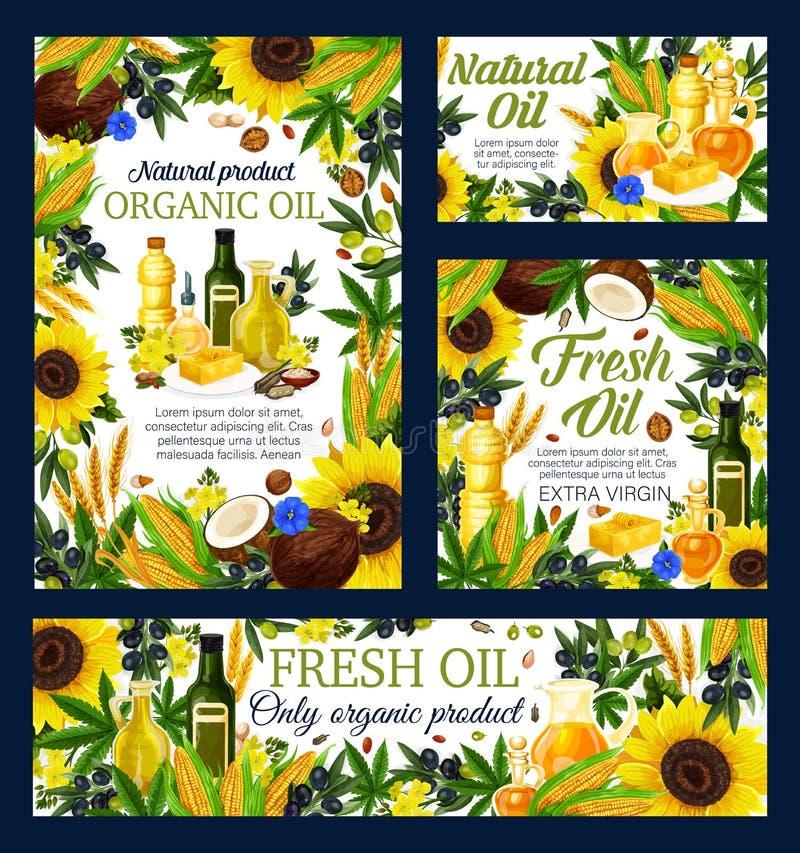 Oljaflaskor, oliv, solros, havre och rapsfrö vektor illustrationer