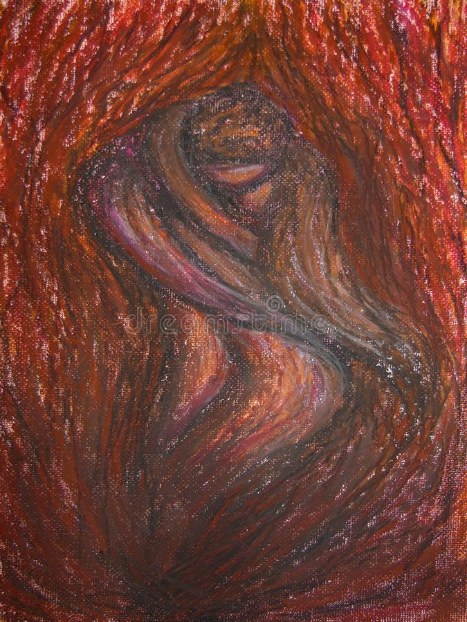 Oljapastellmålning på kanfas av abstrakt brand med inom ett par av vänner av brand som kysser, passion, förälskelse
