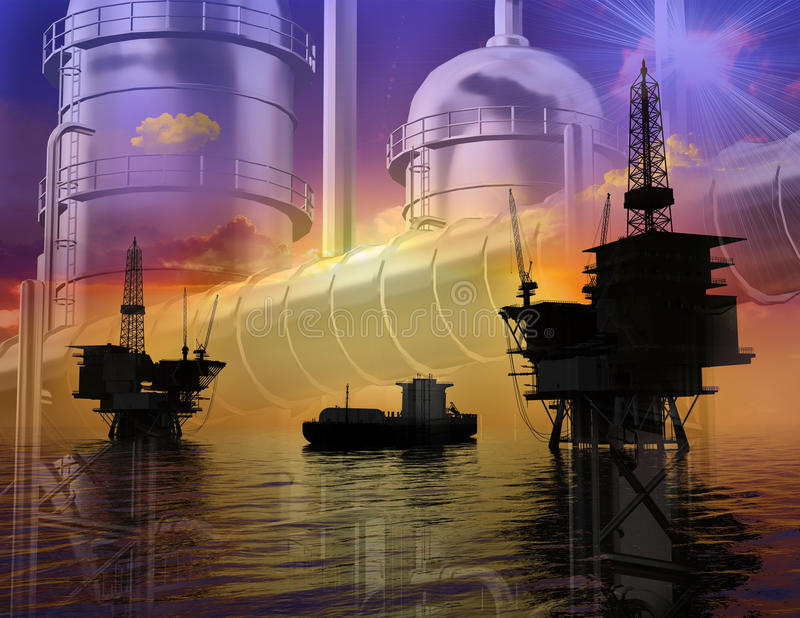 oljaproduktion vektor illustrationer