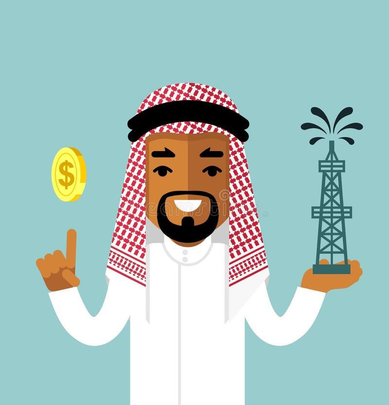Olje- affärsidé med saudiern - arabisk man stock illustrationer
