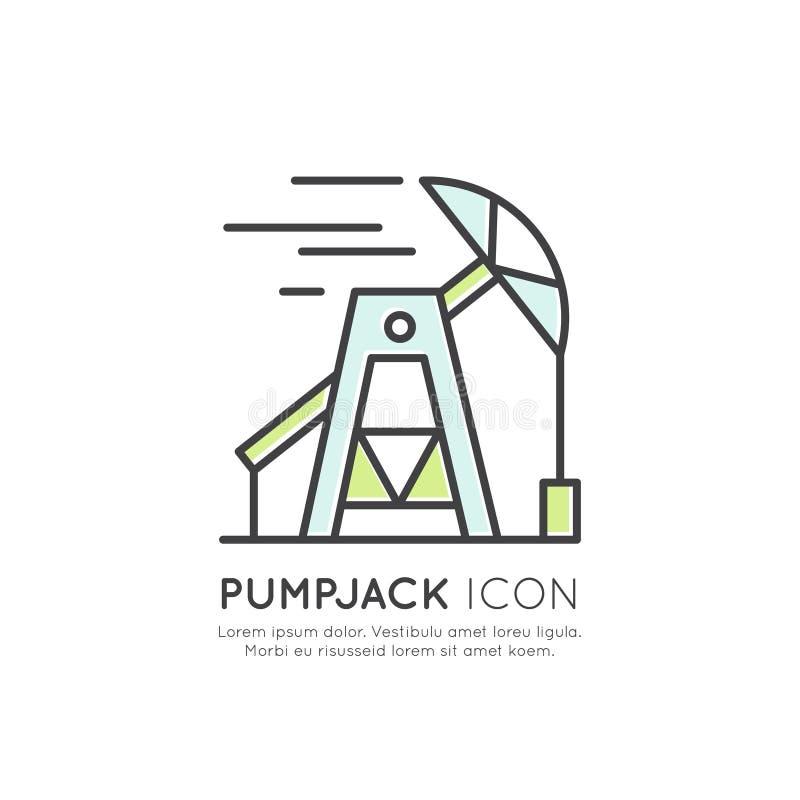 Olje- borrtorn, Pumpjack station, bransch som bryter process vektor illustrationer