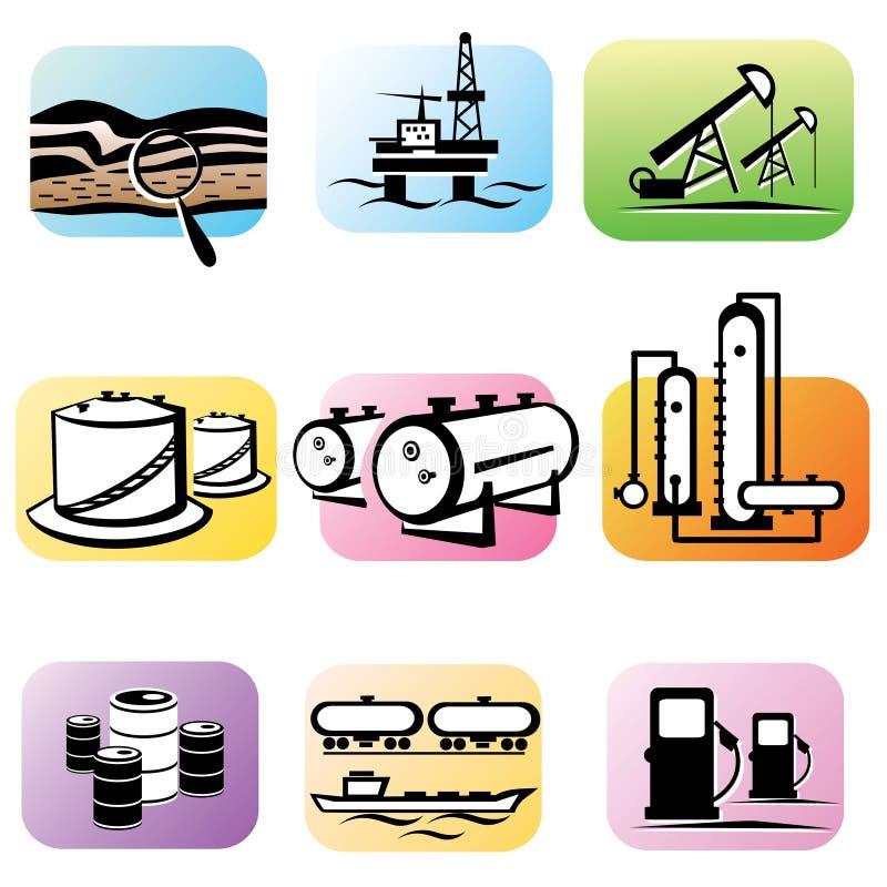 Olje- extraktion och bearbeta stock illustrationer