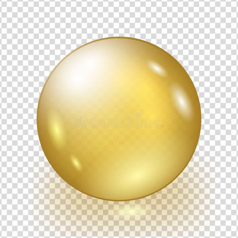 Olje- guld- bubbla på genomskinlig bakgrund royaltyfri illustrationer