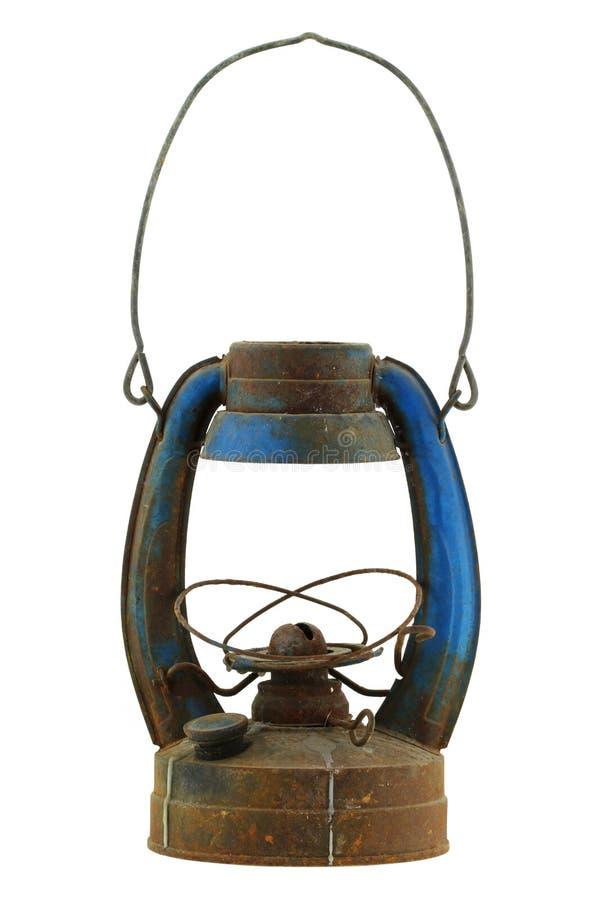 Olje- lampa för gammal och rostig blå tappning royaltyfri fotografi