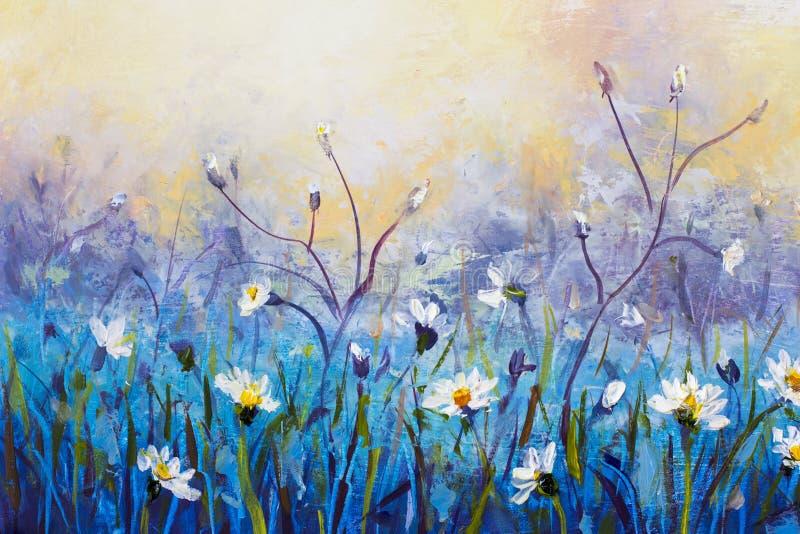 olje- målning av blommor, det härliga fältet blommar på kanfas Modern impressionism Impasto konstverk royaltyfri illustrationer