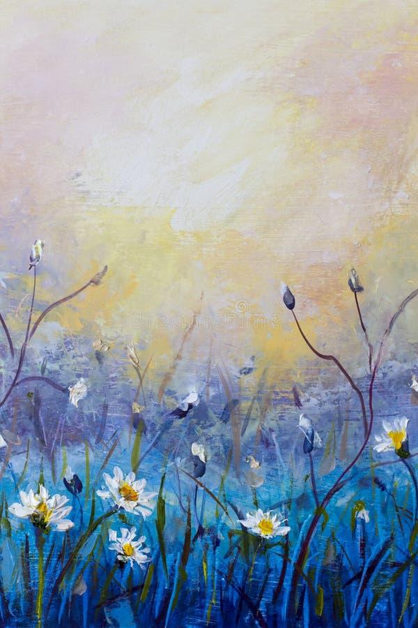 olje- målning av blommor, det härliga fältet blommar på kanfas Modern impressionism Impasto konstverk stock illustrationer