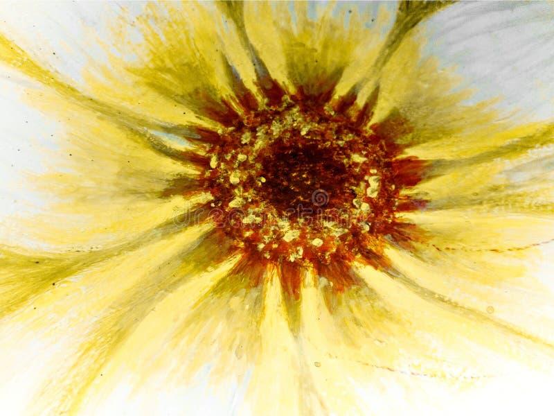 Olje- målning av en tusenskönablomma stock illustrationer