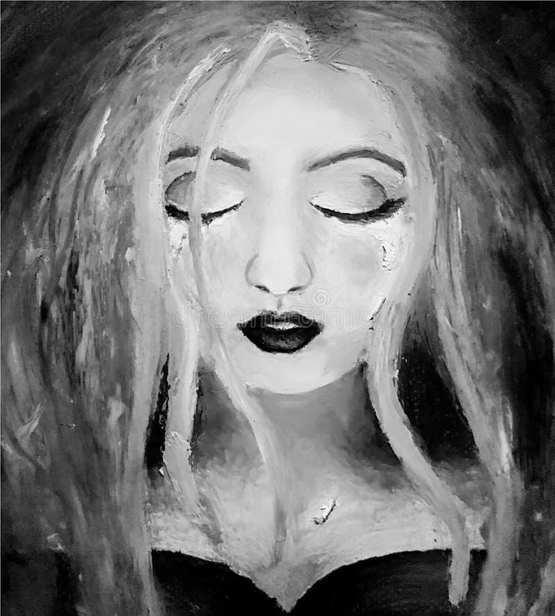 Olje- målning av en ung flicka med revor i svartvitt stock illustrationer
