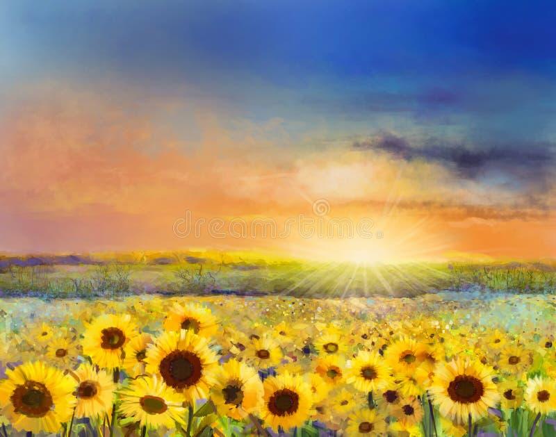 Olje- målning av ett lantligt solnedgånglandskap med en guld- solros arkivfoto