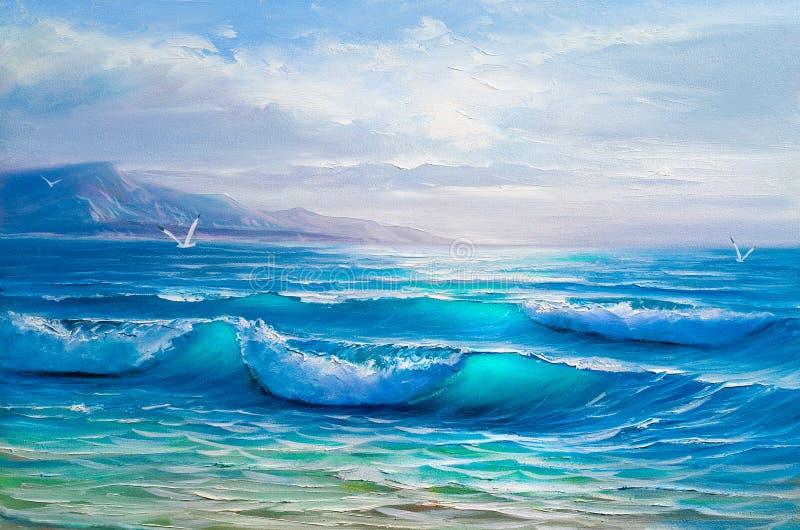 Olje- målning av havet på kanfas skissa fotografering för bildbyråer