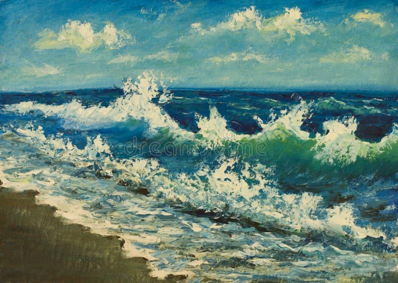 Olje- målning av havsstranden, härliga vågor på kanfas seashore stock illustrationer