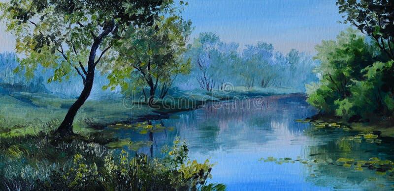 Olje- målning av skoglandskapet - damm i skogabstrakt begreppteckningen stock illustrationer