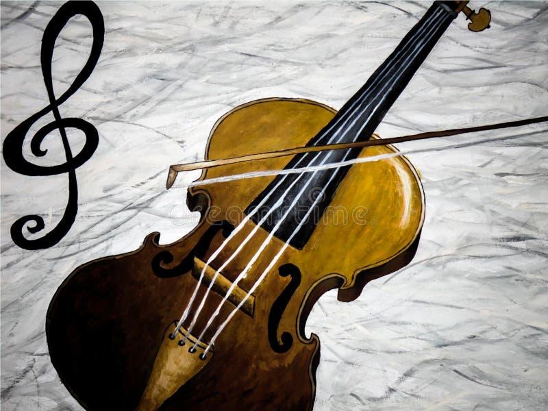 Olje- målning av spela för fiol vektor illustrationer
