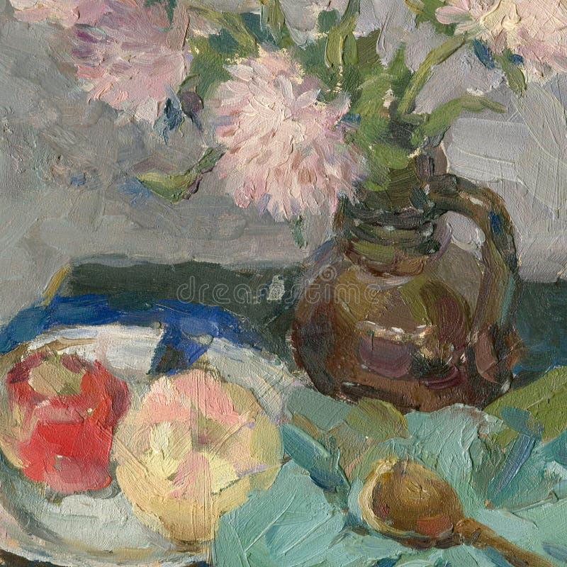 Olje- målning av stilleben med blommorna och frukten royaltyfria bilder