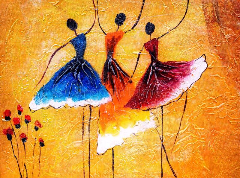 Olje- målning - balettdans royaltyfri illustrationer