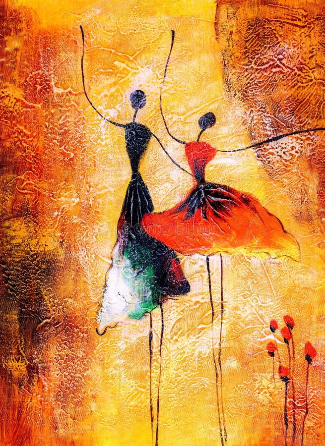 Olje- målning - balettdans vektor illustrationer