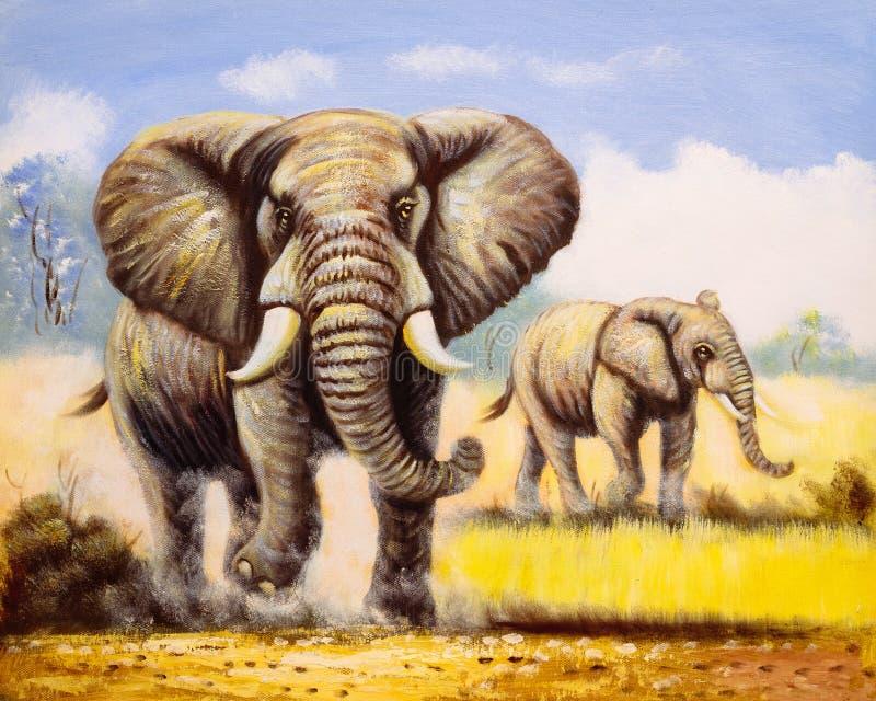 Olje- målning - elefant stock illustrationer