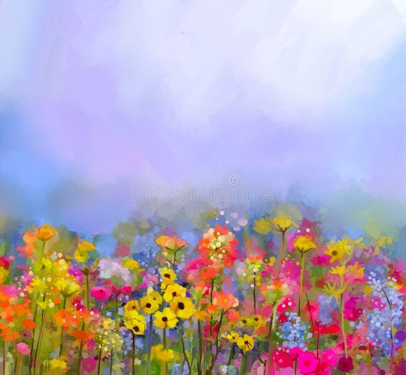 Olje- målning för abstrakt konst av denvår blomman Äng landskap med vildblomman stock illustrationer