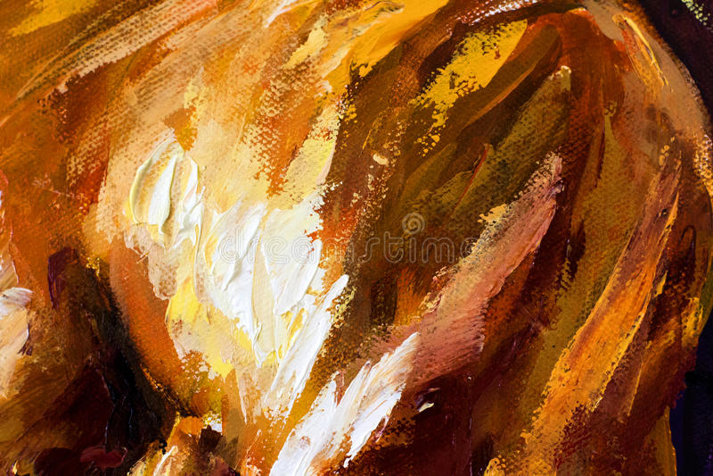 Olje- målning för abstrakt stor closeupmakro på kanfas Modern impressionism Impasto konstverk royaltyfri illustrationer