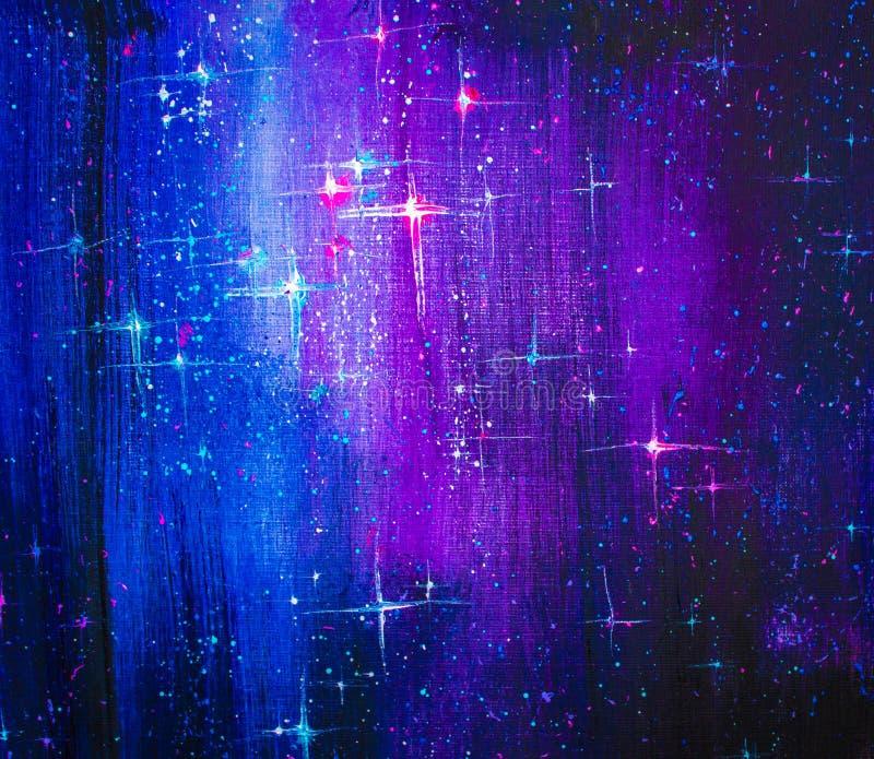 Olje- målning för färgrikt originalabstrakt begrepp, stjärnklar himmel för bakgrund royaltyfri fotografi