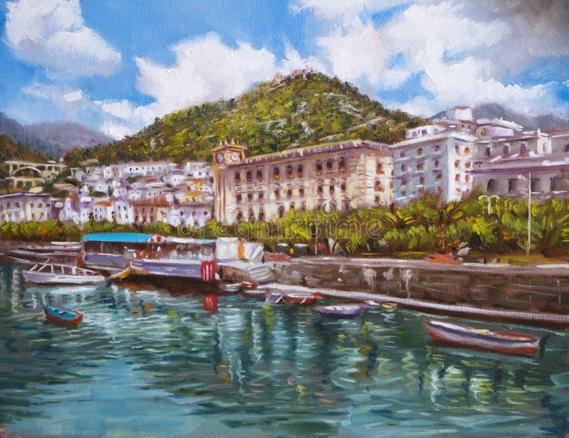 Olje- målning för kust- landskap royaltyfri illustrationer