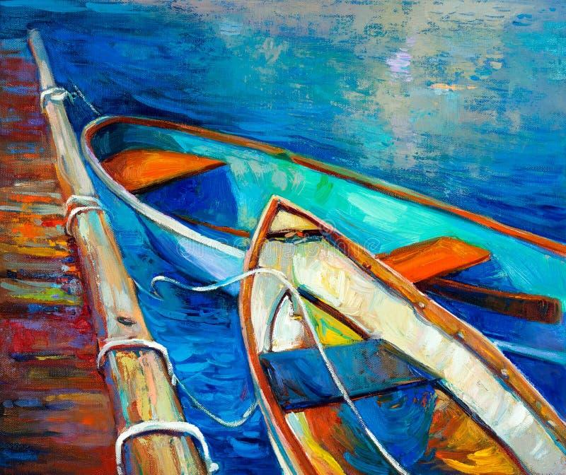 Fartyg och pir stock illustrationer