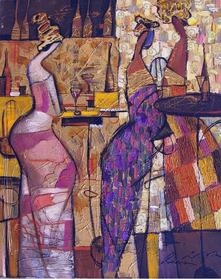 Olje- målning för textur vara upphovsman till Roman Nogin, samtal för ` s för serie`-kvinnor ` version för författare` s av färg royaltyfria foton