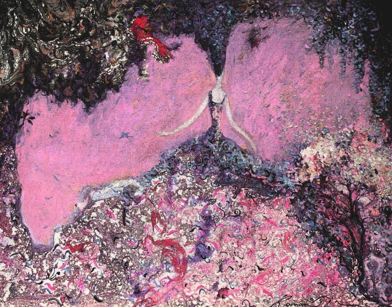 Olje- målning för textur vara upphovsman till Roman Nogin, samtal för ` s för serie`-kvinnor ` version för författare` s av färg vektor illustrationer