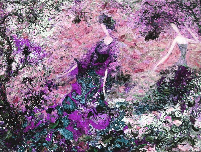 Olje- målning för textur vara upphovsman till Roman Nogin, samtal för ` s för serie`-kvinnor ` version för författare` s av färg stock illustrationer