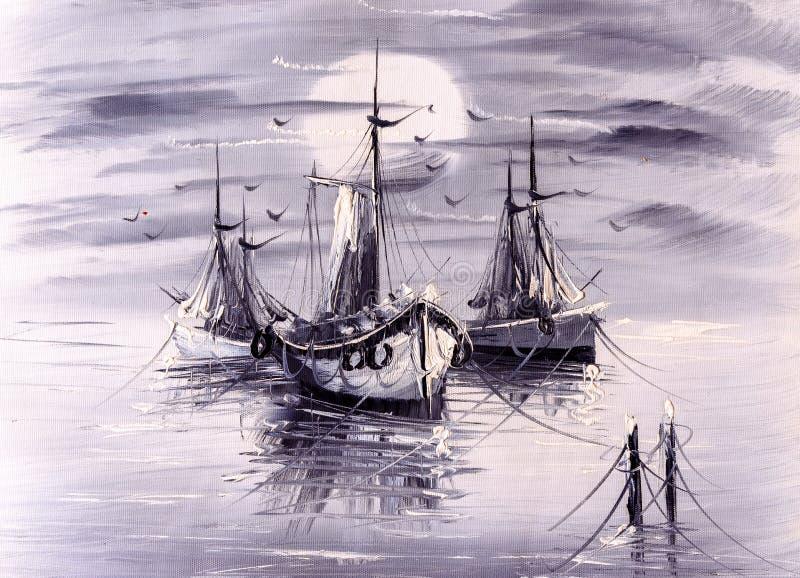 Olje- målning - fartyg royaltyfri illustrationer