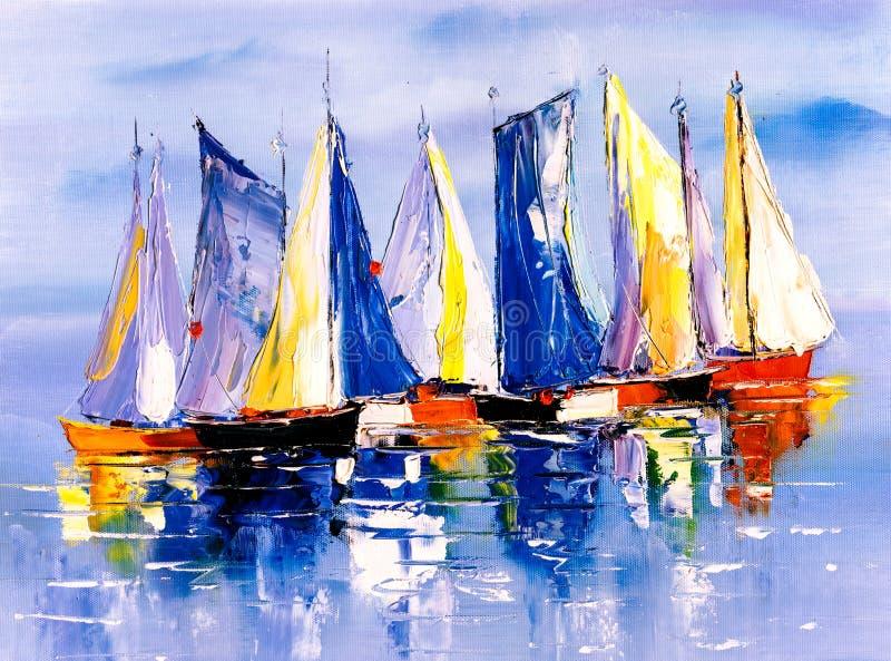 Olje- målning - fartyg stock illustrationer