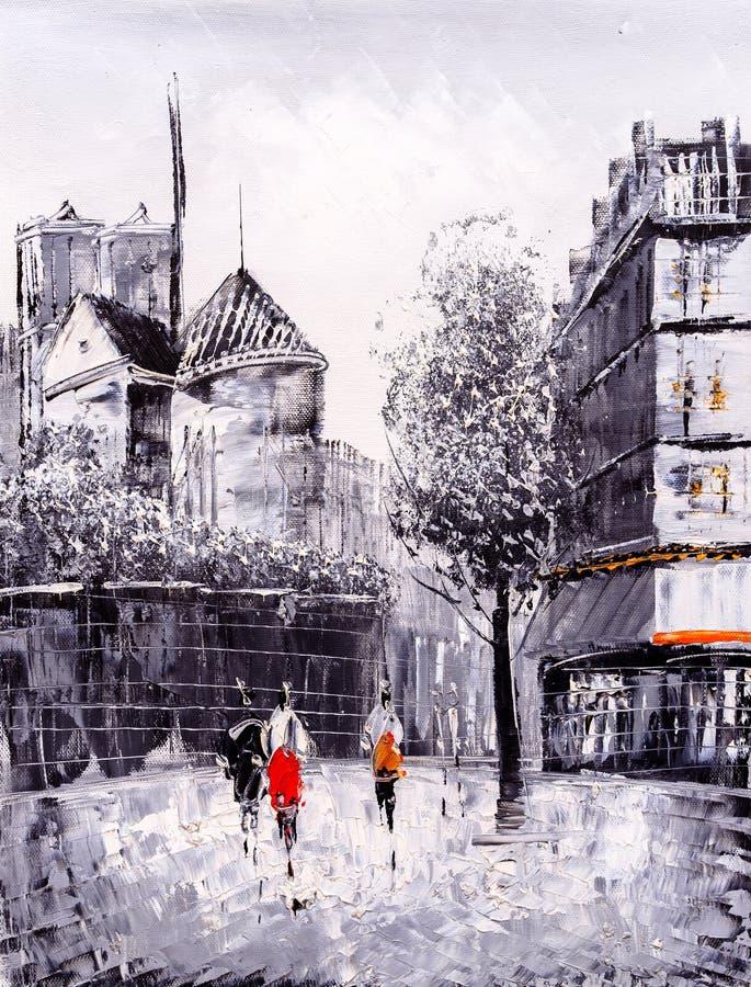 Olje- målning - gatasikt av Paris vektor illustrationer
