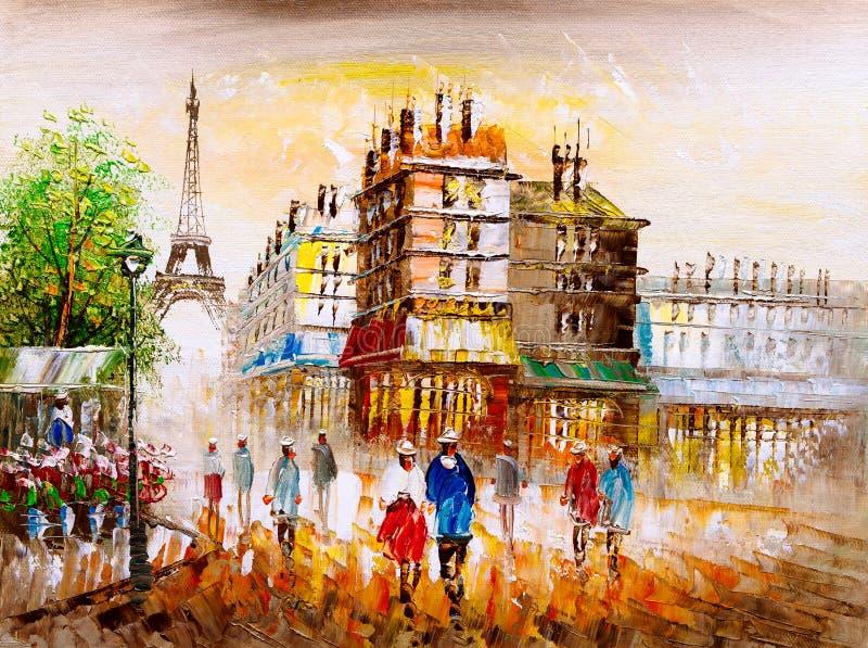 Olje- målning - gatasikt av Paris royaltyfri illustrationer