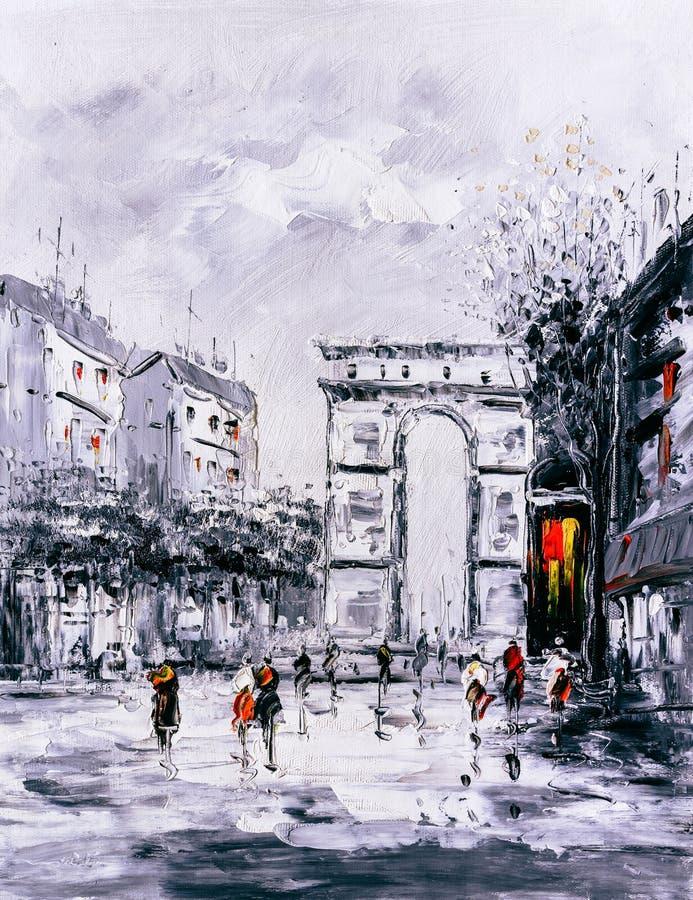 Olje- målning - gatasikt av Paris stock illustrationer