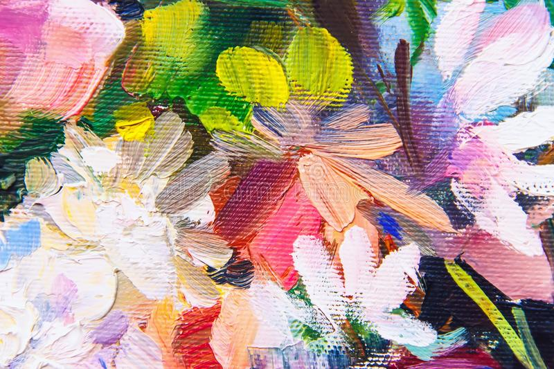 Olje- målning, impressionismstil, blommamålning, fortfarande painti royaltyfria bilder