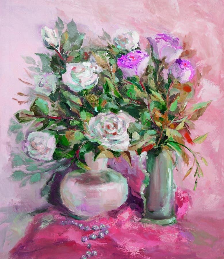 Olje- målning, impressionismstil, texturmålning, blommastil arkivfoto