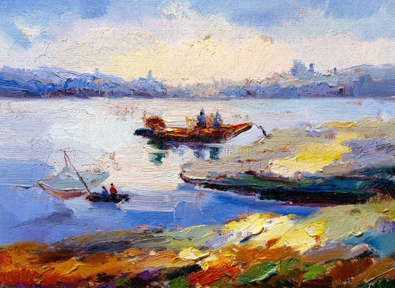 Olje- målning - landskap vektor illustrationer