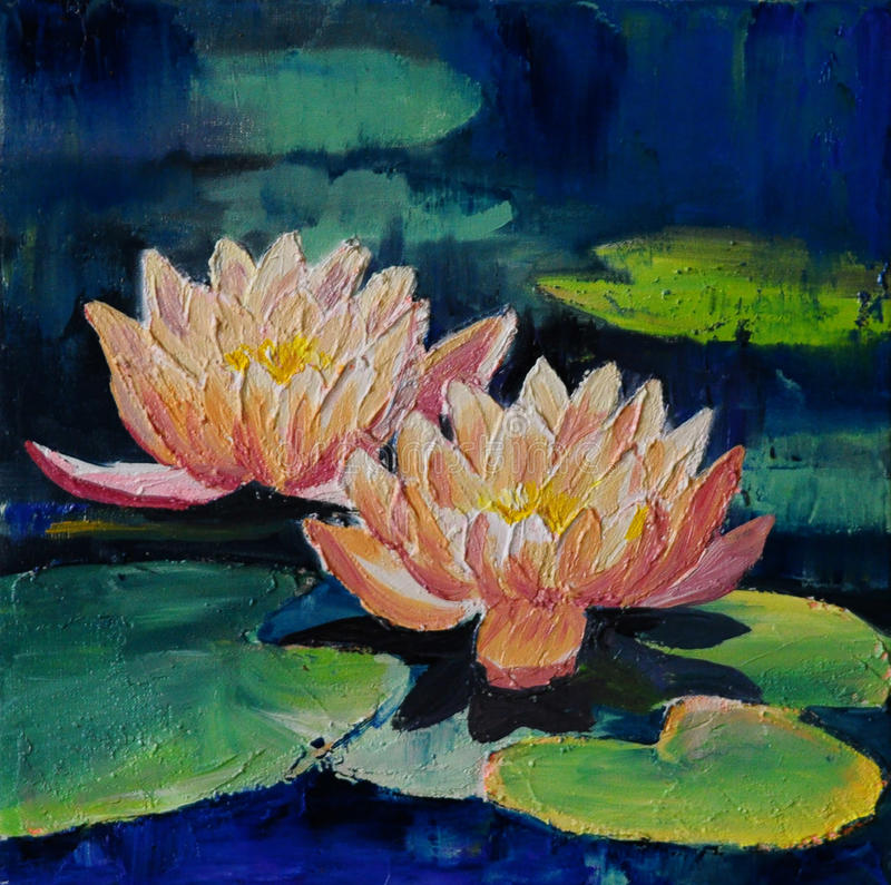 Olje- målning - lotusblommablomma, abstrakt teckning, impressionism royaltyfri illustrationer