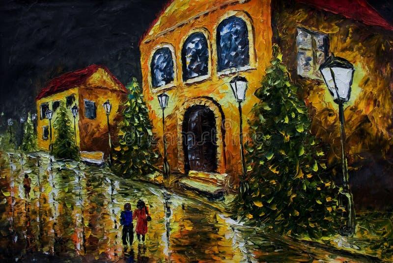 Olje- målning - nattaftonstad, gulinghus, vita ljus, folk, våt väg, reflexion royaltyfri illustrationer
