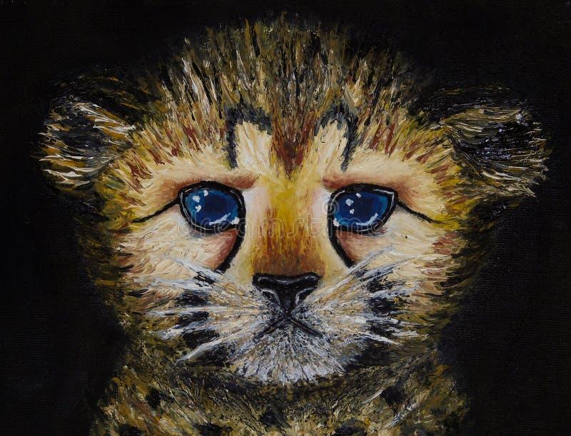 Olje- målning på kanfas av closeupen av den nyfödda gepardgröngölingen som isoleras på svart bakgrund royaltyfri bild