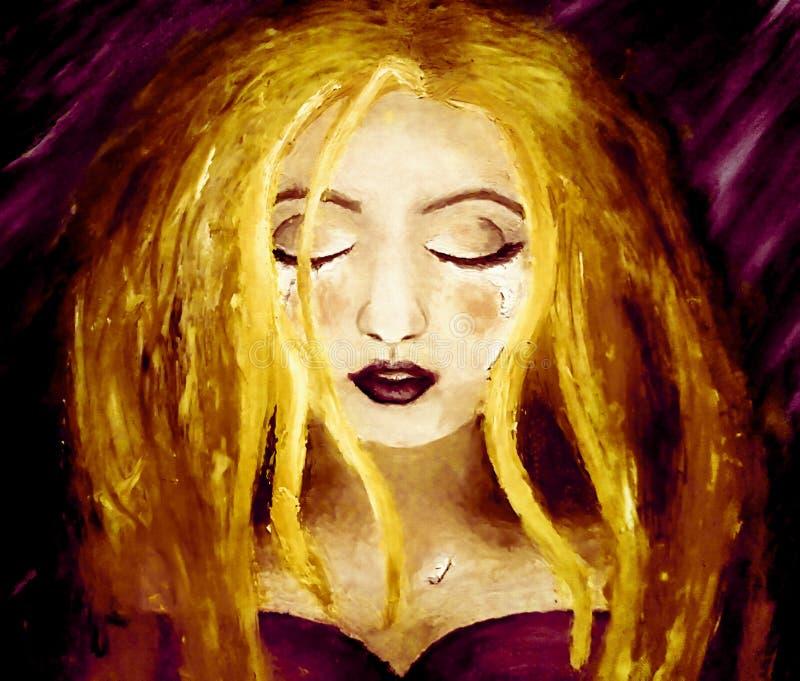 Olje- målning på kanfas av en blond kvinnagråt på en mörk purpurfärgad bakgrund stock illustrationer