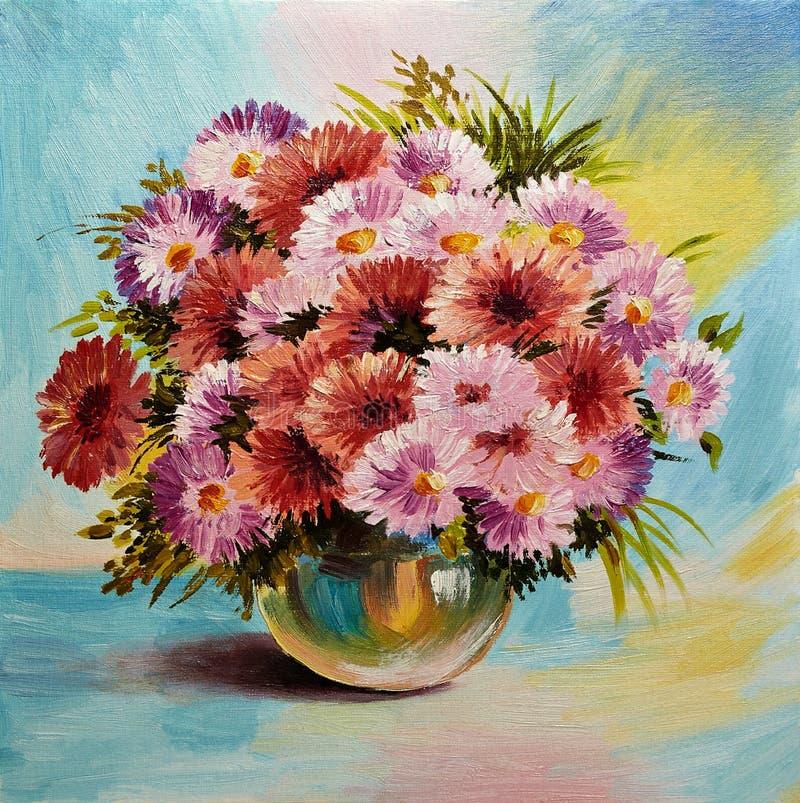 Olje- målning på kanfas - stilleben blommar på tabellen stock illustrationer