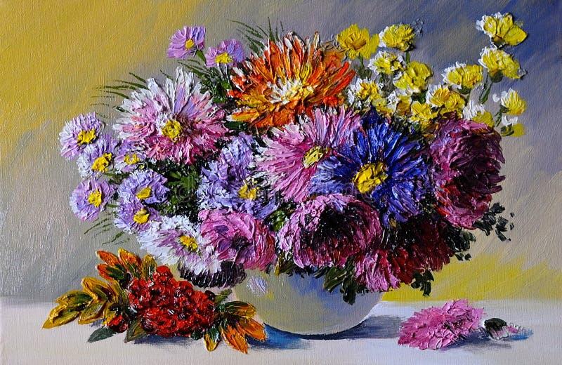 Olje- målning på kanfas - stilleben blommar på tabellen, konstarbete vektor illustrationer