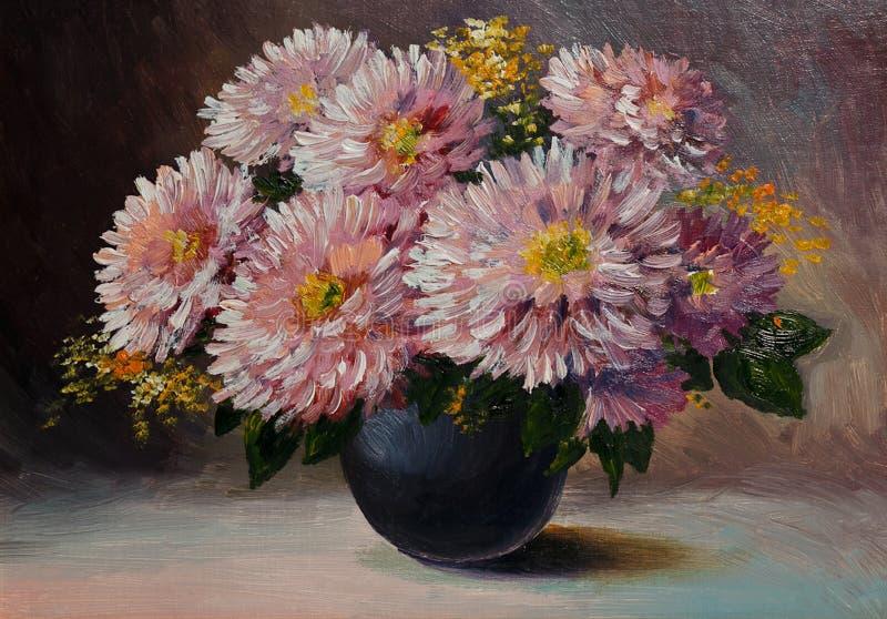 Olje- målning på kanfas - stilleben blommar på tabellen, konstarbete royaltyfri foto