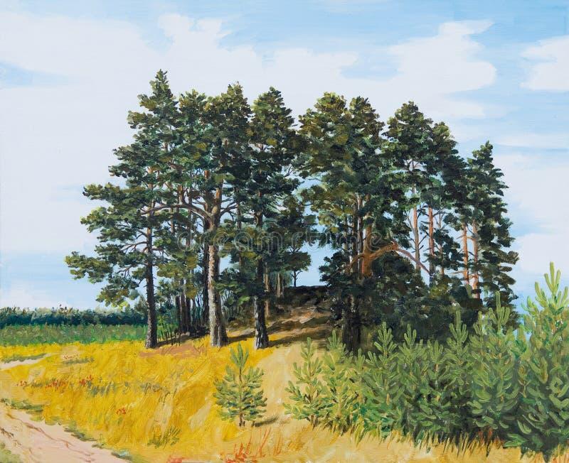 Olje- målning - sörja i fältet, det ryska landskapet, barrskog royaltyfri foto