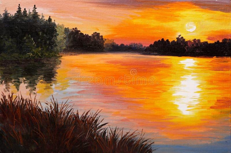 Olje- målning - sjö i en skog, solnedgång abstrakt målning royaltyfri illustrationer