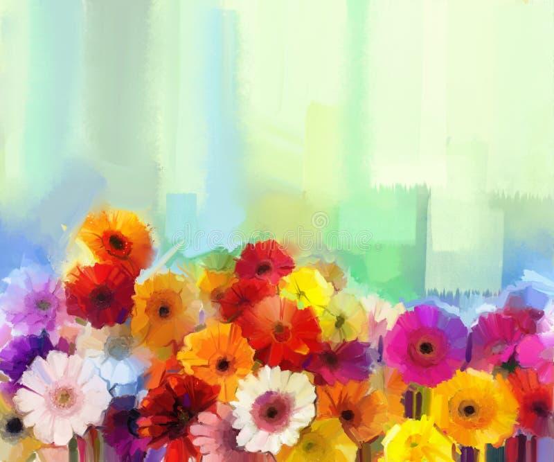 Olje- målning - stilleben av guling, rött och rosa färger färgar blomman Färgrik bukett av tusensköna- och gerberablommor vektor illustrationer