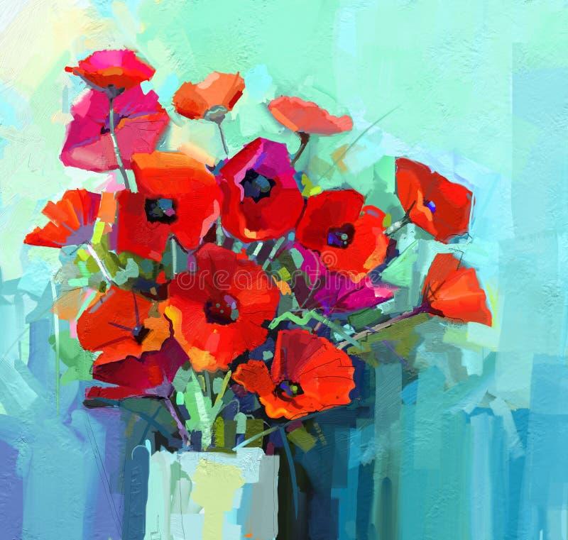 Olje- målning - stilleben av rött och rosa färger färgar blomman Den färgrika buketten av vallmo blommar i vas vektor illustrationer