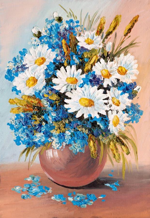 Olje- målning - stilleben, en bukett av blommor royaltyfri illustrationer
