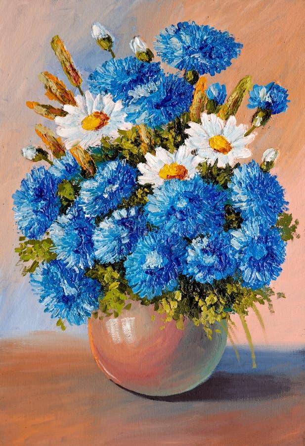 Olje- målning - stilleben, en bukett av blommor vektor illustrationer